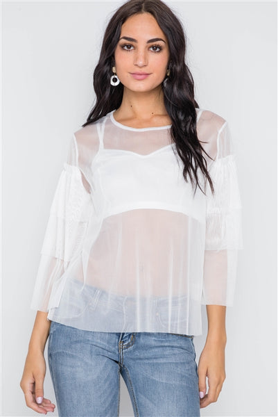 White Sheer Two Piece Mesh Long Sleeves Top
