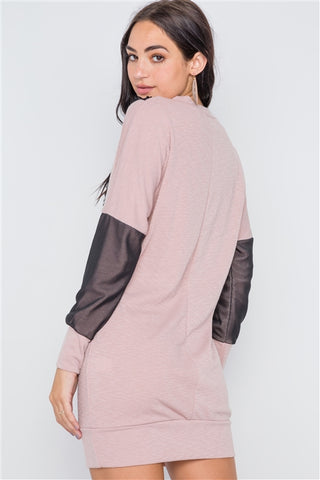 Mauve mesh detail mini tunic sweater dress- Back Close Up