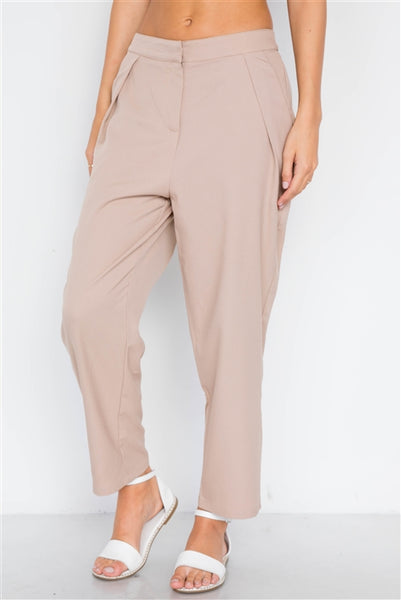 Taupe Cropped Ankle Leg Pants