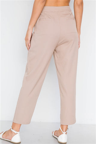 Taupe Cropped Ankle Leg Pants- Back