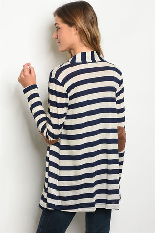 Navy and Cream Open Front Striped Cardigan- Back View