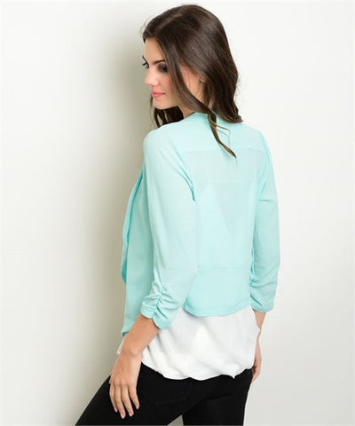 Mint Open Front Blazer- Back View