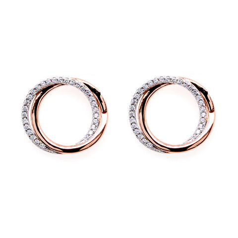 E9713-RG - Two tone cz circle earrings