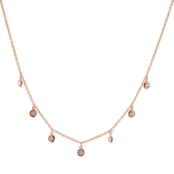 Rose gold plate cubic zirconia bezel drip necklace - N216-RG