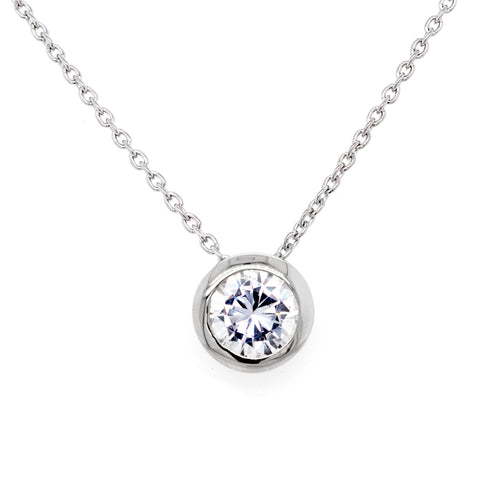 P140-RH - Rhodium cz pendant on fine chain