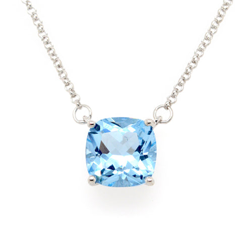 P9961-B - Rhodium square blue pendant on fine chain