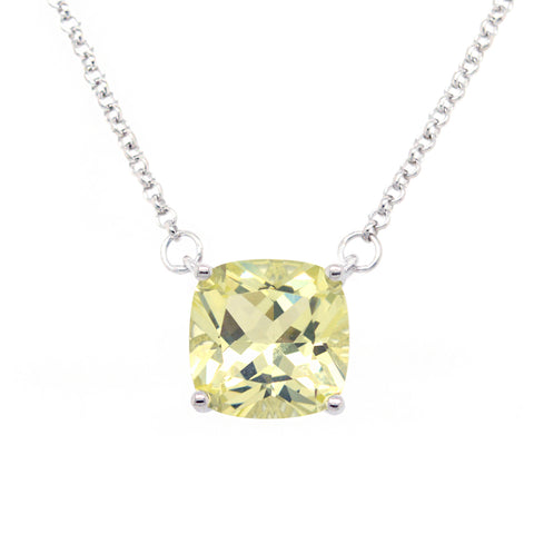 P9961-L - Rhodium square lemon pendant on fine chain