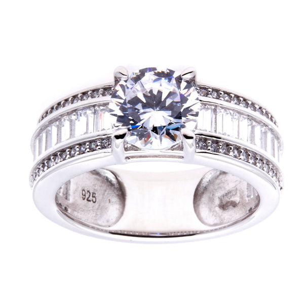 Sterling silver, rhodium plate cubic zirconia dress ring - R11949