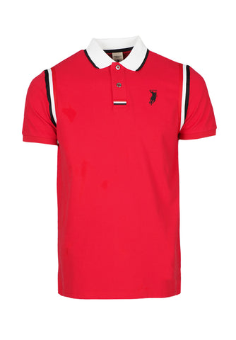 Polo Haus - Armhole With 3 Colors Cotton Tape S/S Collar Tee (Red)