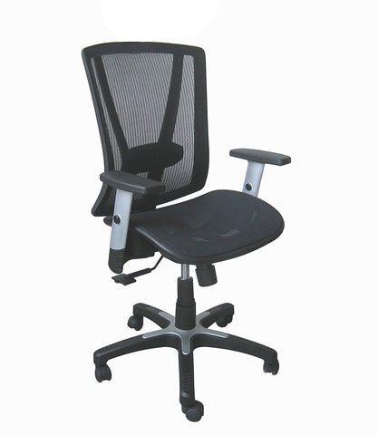 Ergonomic Executive Medium Back Office Chair - Black Breathable Mesh with Adjustable Lumbar Support - Upto 225lbs - US Office Elements
