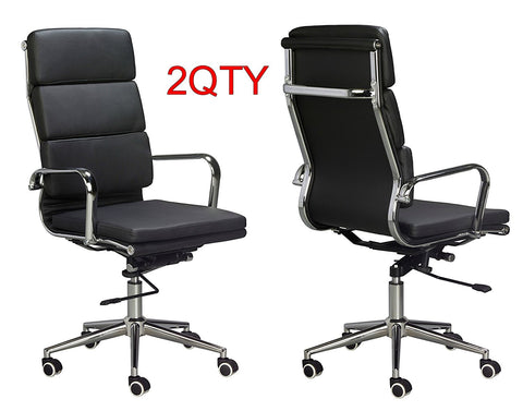 Classic Replica High Back Office Chair (Set of 2) - Black Vegan Leather, thick high density foam, stabilizing bar swivel & deluxe tilting mechanism - US Office Elements