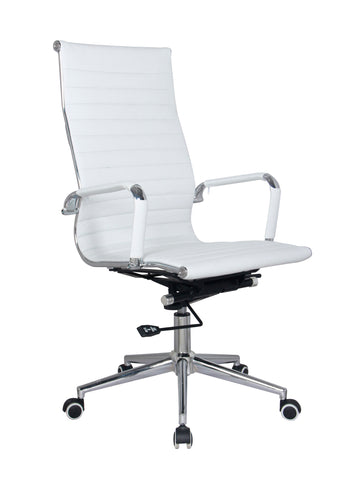 White Modern Executive Classic Ribbed High Back Office Chair in Vegan Leather - US Office Elements