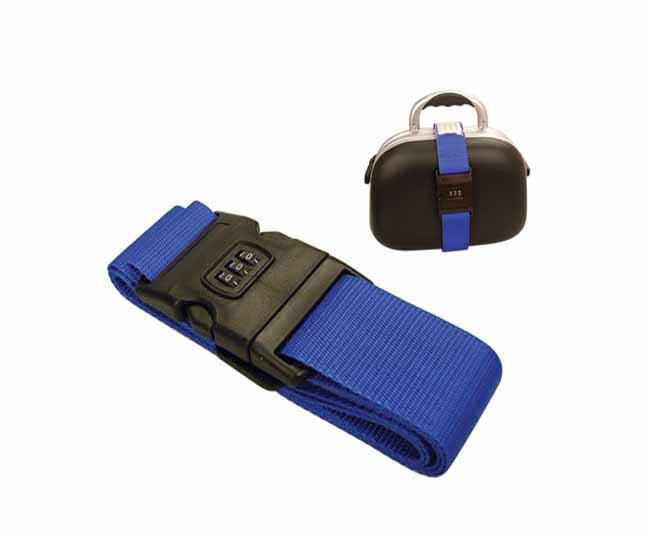 Blue luggage strap and combination lock in promo pack