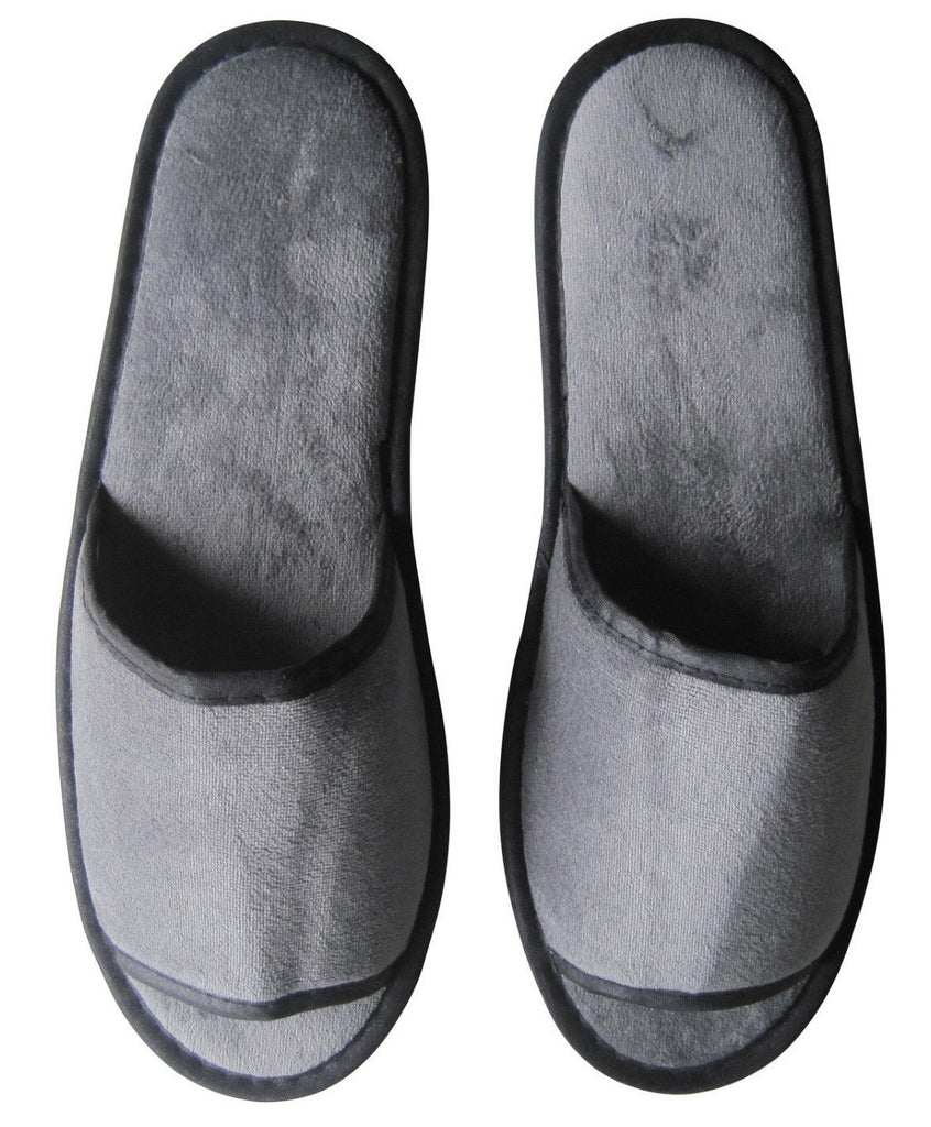 Dark grey velvet slippers (open toe)-(28.5cm)