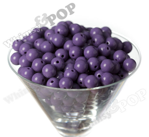 PURPLE 12mm Solid Gumball Beads - WhimsyandPOP