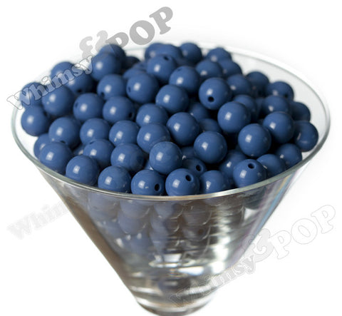 BLUE 12mm Solid Gumball Beads - WhimsyandPOP