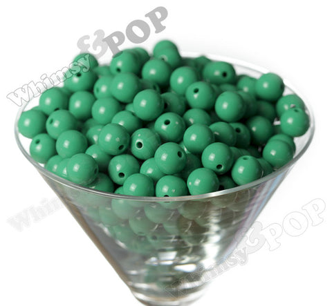 GREEN 12mm Solid Gumball Beads - WhimsyandPOP