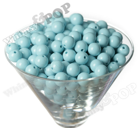 LIGHT BABY BLUE 12mm Solid Gumball Beads - WhimsyandPOP