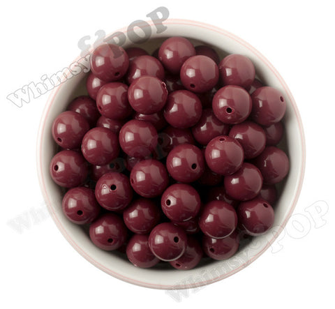 BURGUNDY 16mm Solid Gumball Beads - WhimsyandPOP