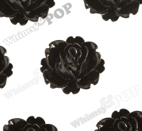 BLACK 18mm Peony Flower Cabochons - WhimsyandPOP