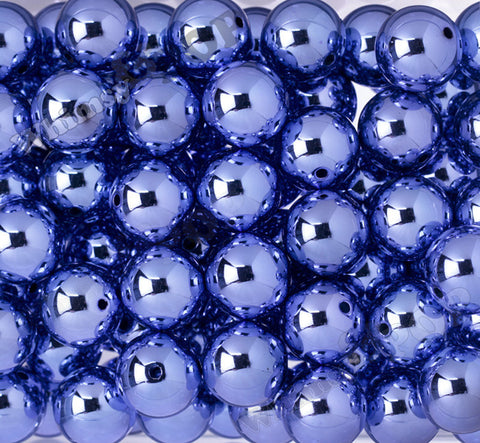 BLUE 20mm Platinum Metallic Gumball Beads - WhimsyandPOP