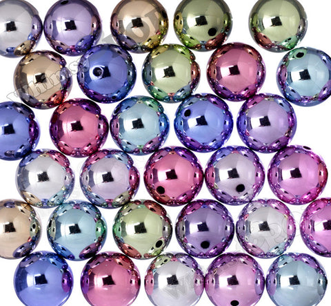MIXED Color 20mm Platinum Metallic Gumball Beads - WhimsyandPOP