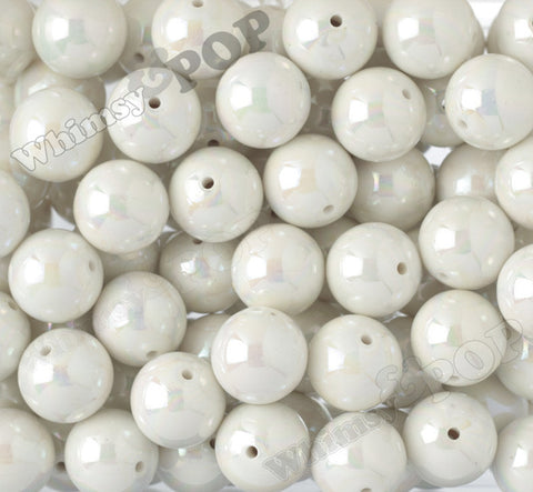 CREAM WHITE 20mm Glossy AB Gumball Beads - WhimsyandPOP