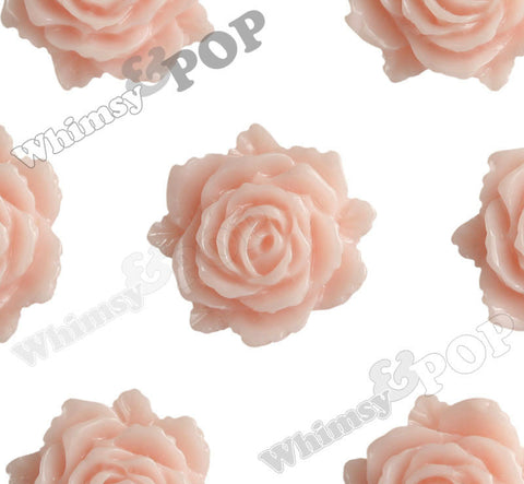 SHABBY CHIC PEACH 11mm Blooming Rose Flower Cabochons
