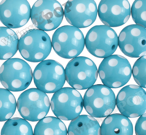 AQUA BLUE 20mm Polka Dot Gumball Beads - WhimsyandPOP