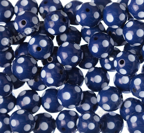 DARK BLUE 20mm Polka Dot Gumball Beads - WhimsyandPOP