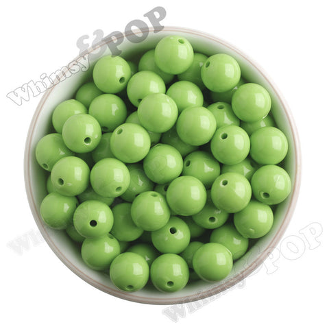 LIME GREEN 16mm Solid Gumball Beads - WhimsyandPOP
