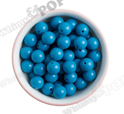 OCEAN BLUE 16mm Solid Gumball Beads