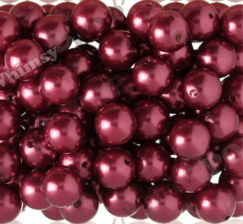 CRIMSON RED 20mm Metallic Pearl Gumball Beads - WhimsyandPOP