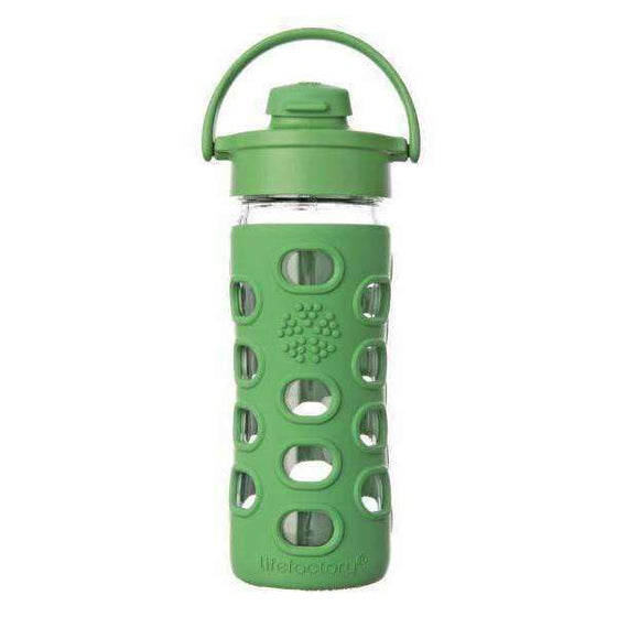 Onelife Singapore.Lifefactory 12oz Glass Bottle with Flip Cap,Grass Green