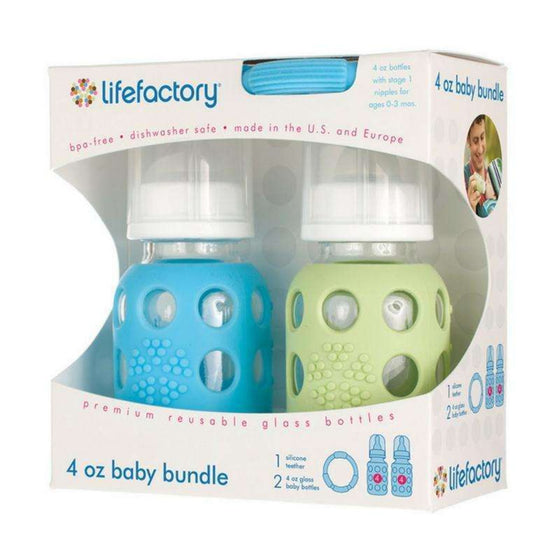 Onelife Singapore.4oz Baby Bundle,Sky / Spring Green 4oz Bottles + Sky Teether