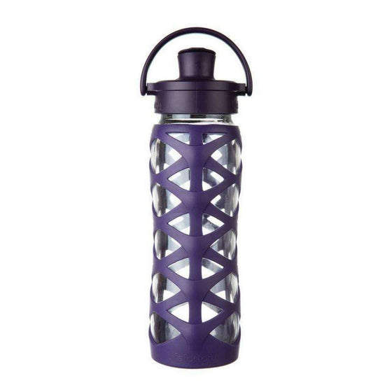Onelife Singapore.22oz Glass Bottle with Active Flip Cap,Aubergine