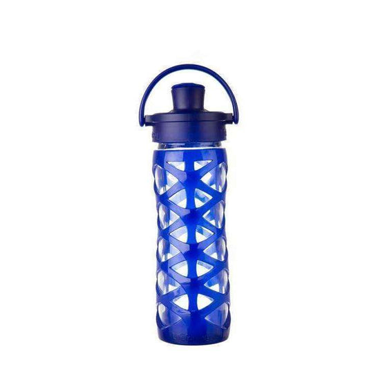 Onelife Singapore.Lifefactory 16oz Glass Bottle with Active Flip Cap,Sapphire