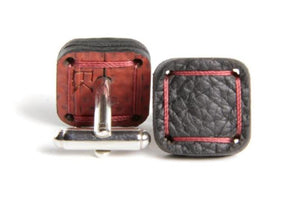 Elvis & Kresse cufflinks - hand made from Reclaimed Burberry leather offcuts and London Fire Brigade hose