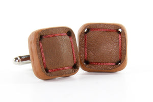 Elvis & Kresse Torpedo Cufflinks - Tan and Red