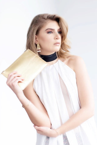 Metallic Gold Rectangle Clutch Bag With Gold Zip
