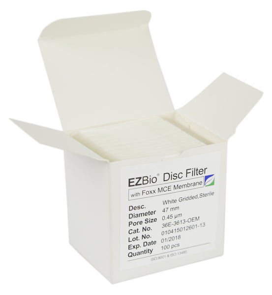 EZBio Gridded Disc Filter, 0.45µm MCE, White and Gridded, 47mm, Sterile, 100/pack