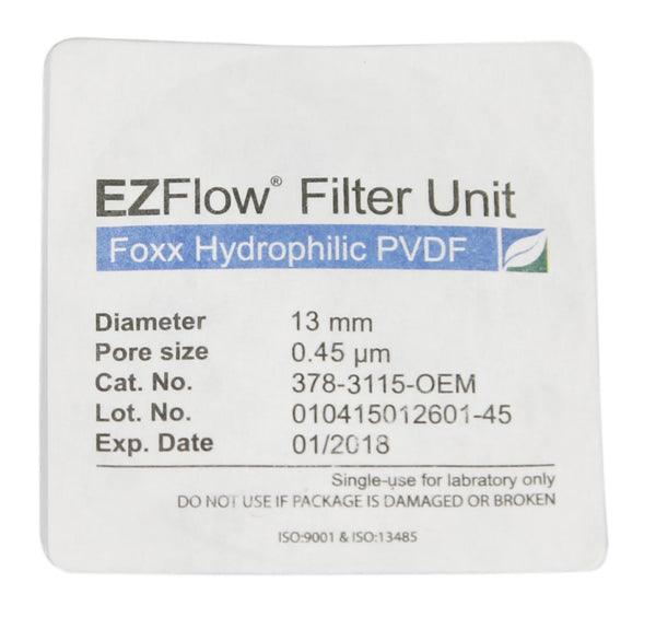 EZFlow® Syringe Filter, 0.45µm Hydrophilic PVDF, 13mm, Sterile, 100/pack