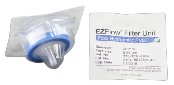 EZFlow® Syringe Filter, 0.45µm Hydrophilic PVDF, 25mm, Sterile, 100/pack