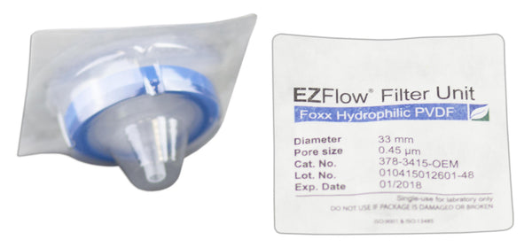 EZFlow® Syringe Filter, 0.45µm Hydrophilic PVDF, 33mm, Sterile, 100/pack