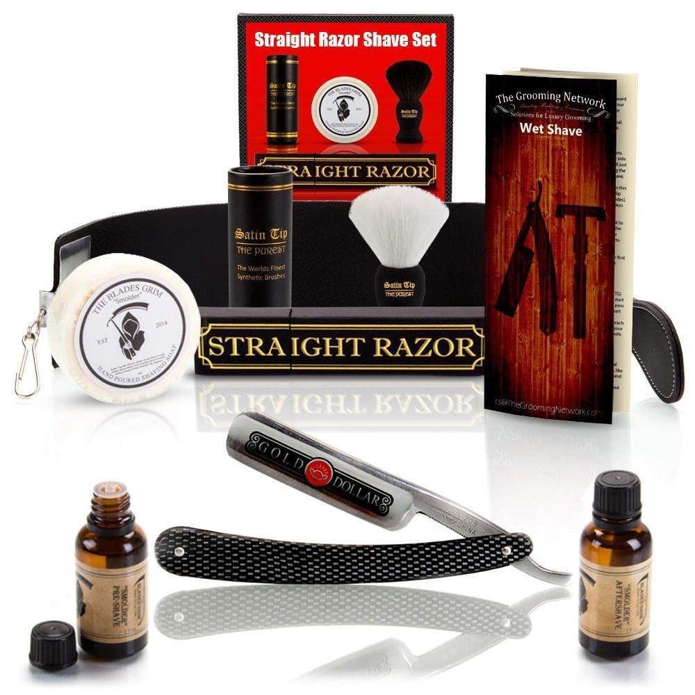 "10 Piece Set Shaving Straight Razor 6/8"" GD w/Box-"