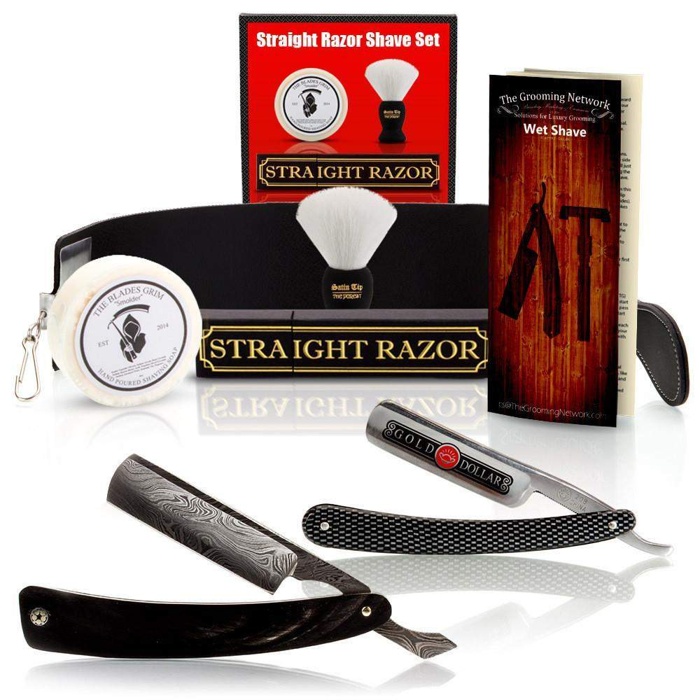 $100 Off Buffalo Horn Damascus Straight Razor and Luxury Shave Set-