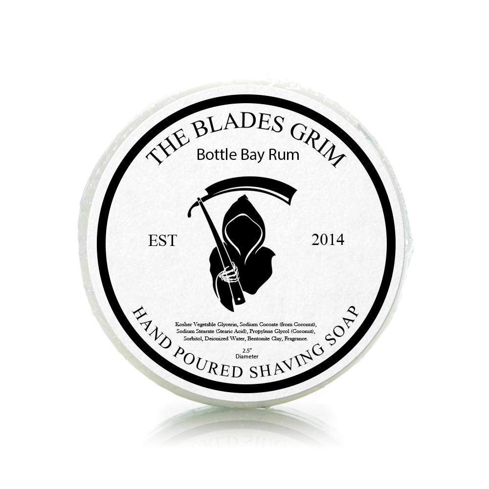 "Bottle Bay Rum - The Blades Grim 2.5"" Shaving Soap-"