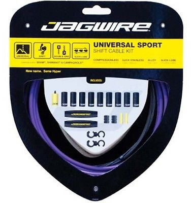 Jagwire Universal Sport MTB / Road Bike Bicycle Gear Cable Kit Purple inc Campag