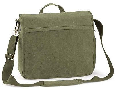 "Canvas 15.4"" Laptop Computer Messenger Student Shoulder Bag Olive"