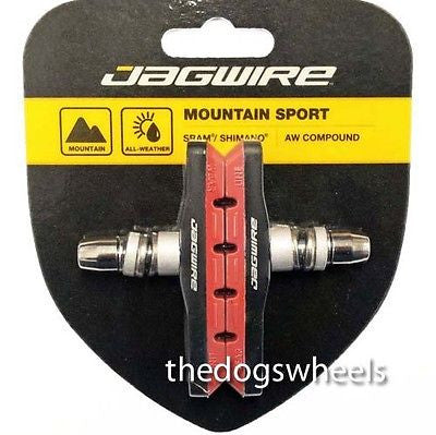 Jagwire V-Brake Brake Pads Blocks MTB Bicycle Bike V Brake Brakes Red